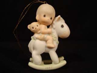 Precious Moments Christmas Ornament 1987 Babys 1ST Boy