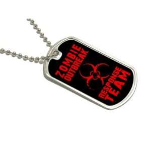 Zombie Outbreak Response Team Red   Dog Tag Keychain