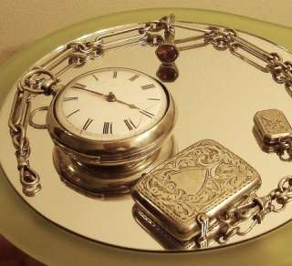 awesome fusee pocket watch with sterling silver chain match safe key