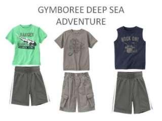 NWT GYMBOREE BOYS DEEP SEA ADVENTURE SHIRT TOP CARGO SHORTS ATHLETIC