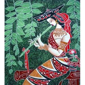 High Quality Chinese Batik Tapestry Girl Play Music