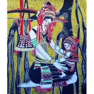 High Quality Chinese Batik Tapestry Love Mom Baby