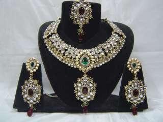 India Kundan CZ Belly Danc Bridal Wedding Jodha Akbar Necklace set 4Pc