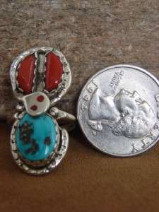 Zuni Indian Effie Calavaza Turquoise Coral Ring Size 6