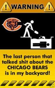 Decal Sticker Funny Joke Warning Sign NFL Chicago Bears Fooball   2