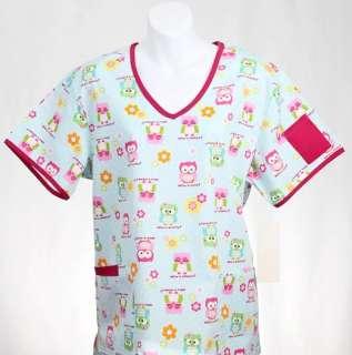 WHOs WHO PINK Missy Top MEDIUM Nursing Nurse Scrubs