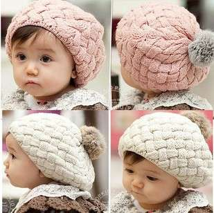 Cute Winter Knit Crochet Beanie Hat For Baby Kids Girls Gift