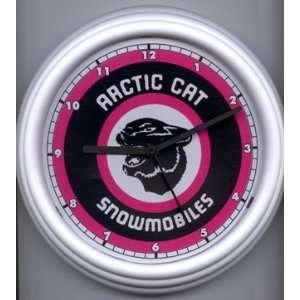 Arctic Cat Snowmobile Wall Clock   Purple Cat Head Sports
