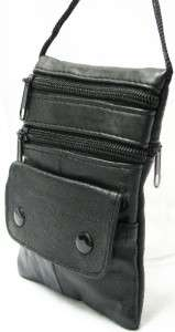 Pouch Small Travel Black Leather Shoulder Cross Body 01