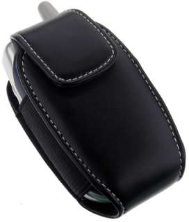 MONACO BLACK LEATHER POUCH CASE WITH CLIP FOR SMALL CELL PHONE