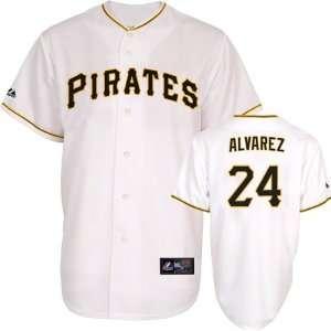 Pedro Alvarez Jersey Adult Home White Replica #24 Pittsburgh Pirates