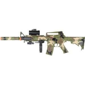 AEG Electric M16 Assault Rifle Camo, FPS 200, Scope, Tactical Light