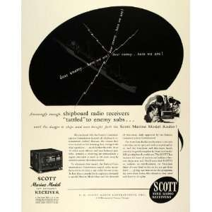 1942 Ad Scott Marine Model Radio Receiver Low Radiation