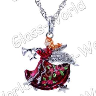 6strds Music Angel Rhinestone&Enamel Pendant Necklaces