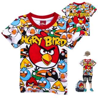 2012 New Kids Boys Girls Angry Birds Funny Short Sleeve T shirt 2