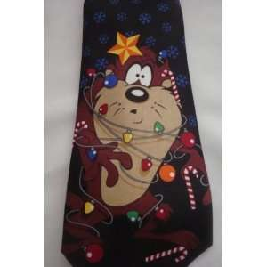 Looney Tunes TAZ Tasmanian Devil Christmas Holiday Tie