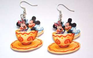 Mickey & Minnie Mouse Teacup earrings disney,movies,tv