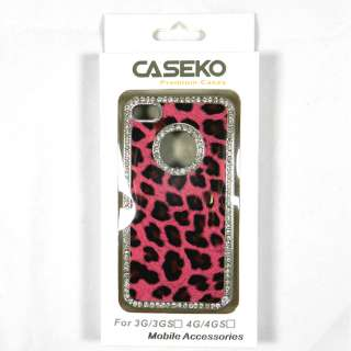 Pink Leopard Premium Diamond Luxury Hard Cover Case For iPhone 4S/4 w