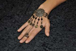 Silver Gold Black bead coin chain slave bracelet ring belly tribal