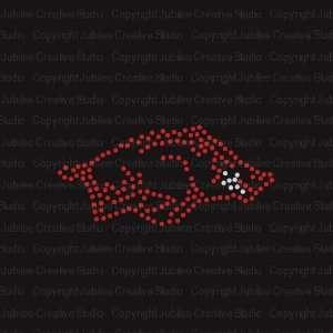Razorback Hog Iron On Rhinestone Tshirt Transfer: Arts