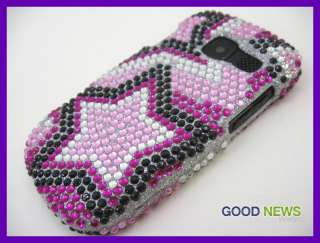 for AT&T Pantech Link 2   Pink Black Stars Bling Crystal Hard Case