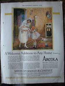 1926 Arcola American Radiator Company Nurse New Baby Color Ad