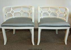Pair of Art Deco Neoclassic Cream Living Room Chairs