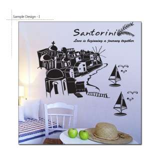 SANTORINI GREECE DIY Wall Decor Vinyl Art Sticker Decal