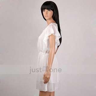 Fashion Casual Women Ladies Short Wave Sleeve Round Neck Chiffon Mini