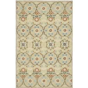 Collection 6 Feet by 9 Feet Hand hookedWool Area Rug, Sage and Ivory