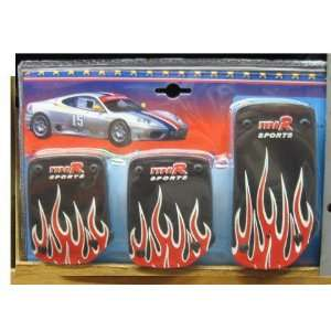 Universal Fit Fire Flame Racing Pedal   Manual Transmission Red Flame