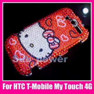 Red Hello kitty Bling Back Case cover HTC mytouch 4G