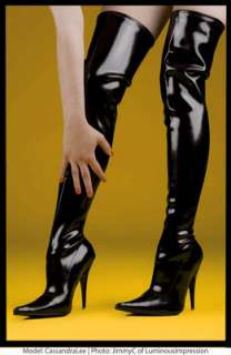 LATEX Top Quality THIGH HIGH BOOTS Stiletto Heels Lined