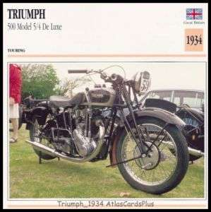Motorcycle Card 1934 Triumph 500 De Luxe 5/4 single cyl