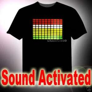 SOUND ACTIVATED LED EQUALIZER T SHIRT HIP HOP Concert