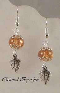 AUTUMN FALL THANKSGIVING LEAF Charm Earrings LT BROWN