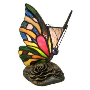 Multicolor Stained Glass Butterfly Accent Table Lamp: Home