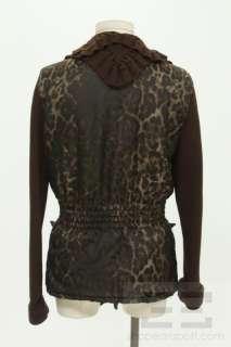 Class Roberto Cavalli Brown Wool & Leopard Print Jacket Size US 8
