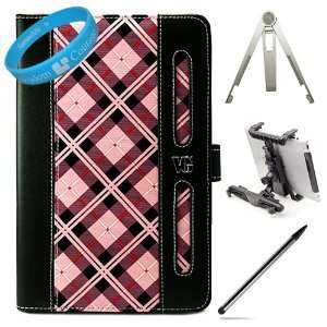 Pink Plaid Executive Portfolio Leather Carrying Case Cover