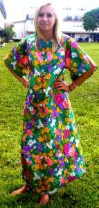 VTG hippie ANGEL hostess festival 60s long sleeve party ROBE MAXI