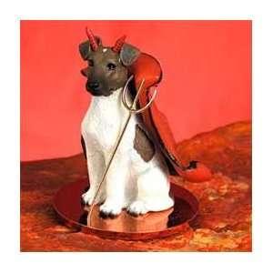 Fox Terrier Little Devil Dog Figurine   Brownn & White