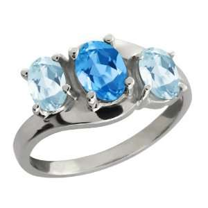 Genuine Oval Swiss Blue Topaz Gemstone Sterling Silver Ring Jewelry