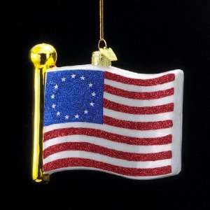 Pack of 8 Novelty Glass U.S. Colonial Betsy Ross Flag