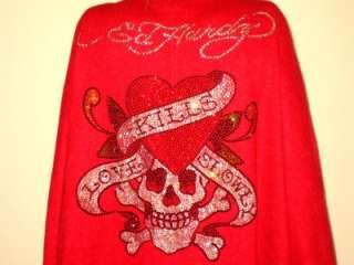 NWT ED HARDY HEART LOVE KILLS SLOWLY RHINESTONE SHAWL CAPE RED