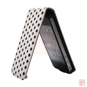 Red POLKA DOT LEATHER FLIP CASE COVER POUCH FOR iPhone 4S 4 4G