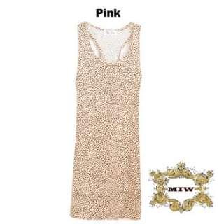 New Women Pink Leopard Prints Vest Dress / Long Vest Top ONE SIZE for