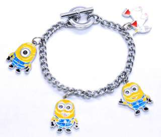 Despicable Me Minion Unicorn Metal Chain Charm Bracelet