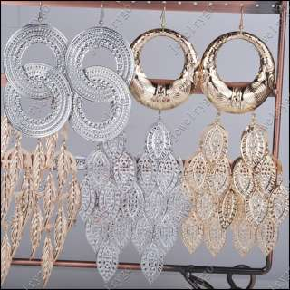 Lots 12pr Gold Silver Mix Style Dangle Charm Basketball Wives Earrings