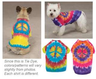 TIE DYE PEACE SIGN TEE Cool Dog T Shirt Pet Clothes New