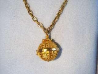 INCREDIBLE KARL LAGERFELD GOLD TONE ORB NECKLACE